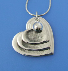 triple heart fingerprint pendant