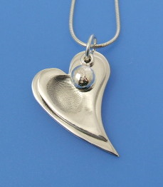 wavy heart fingerprint pendant